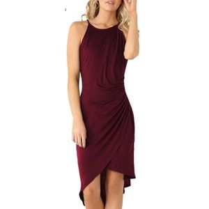 Sexy, silky deep red cocktail dress